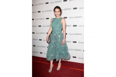 emilia clarke in a fluffy dress