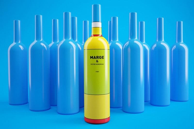 Homer Simpson Wine Bottle Pietre Mondrian By Constantin Bolimond 1