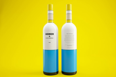 Homer Simpson Wine Bottle Pietre Mondrian By Constantin Bolimond 2