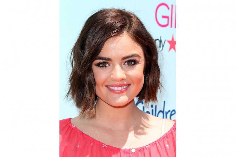 Lucy Hale beauty look: glossy pink