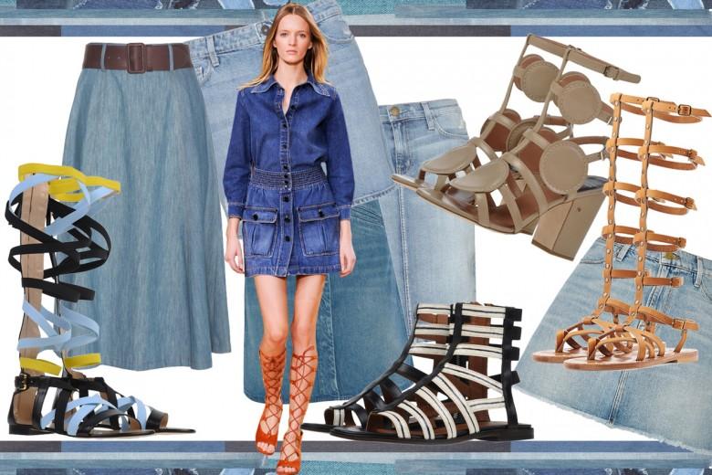 Come abbinare gonne in jeans a sandali gladiatore per il 2015