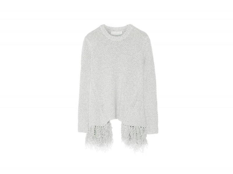 THAKOON-maglione-grigio-frange