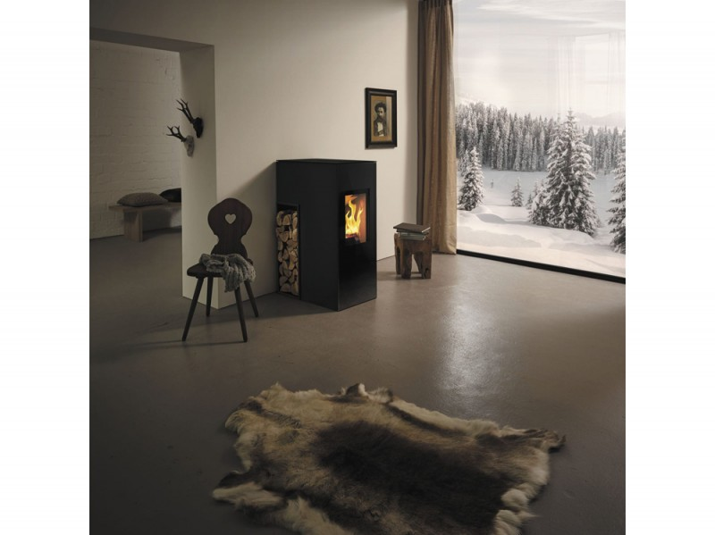 Wood heating stove / contemporary