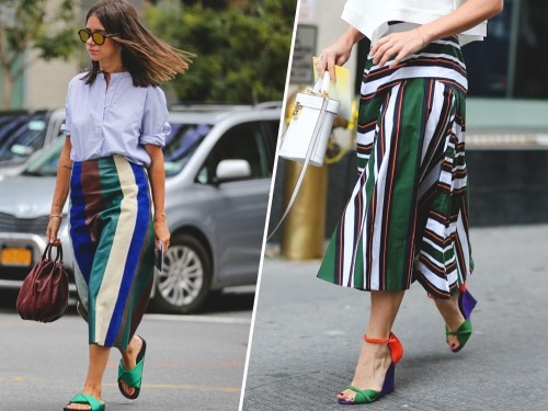 15cde8a184d2 Street style trend  la gonna a righe - Grazia.it