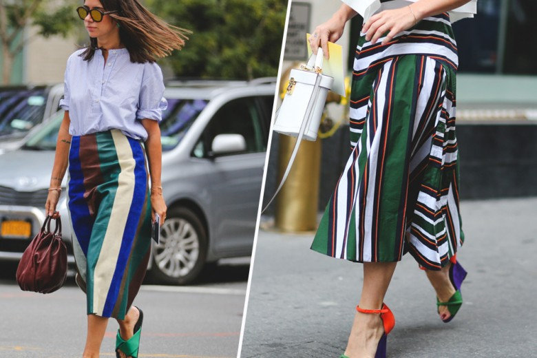 Street style trend: la gonna a righe