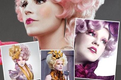 Effie Trinket e i suoi make up colorati per la serata di Halloween