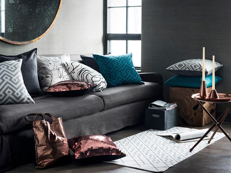 Grigio antracite in salotto con H&M Home