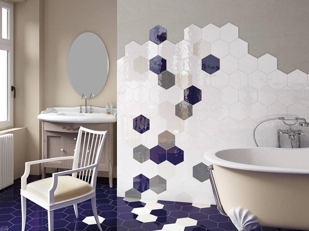 Piastrelle Esagonali Bianche : Rivestimenti per il bagno: 10 idee decor da copiare grazia.it
