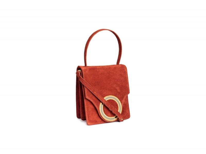 h&m borsa arancione camoscio