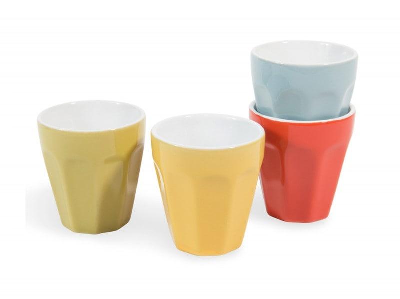 4 tazze da caffè vintage multicolore