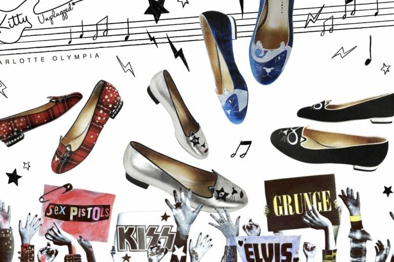 """Le ballerine """"Kitty"""" di Charlotte Olympia diventano rock!"""