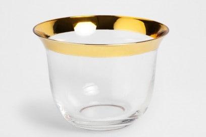 Ciotola in vetro con bordo dorato