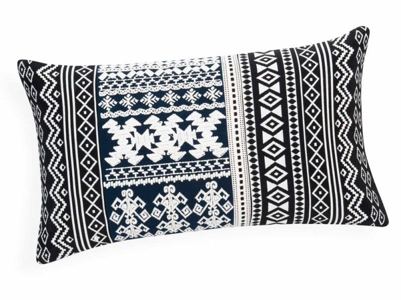 Cuscino bianco & nero in cotone