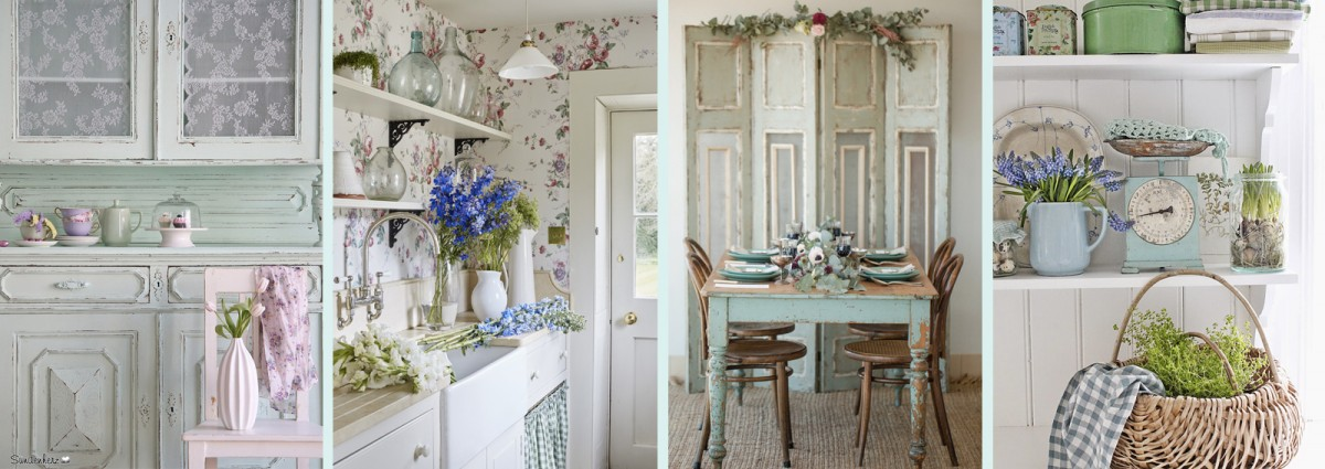 Stile shabby chic free cucina in stile shabby mensole in for Mensole grigie