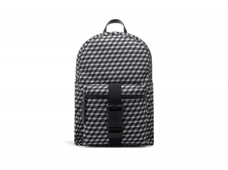 Mens-nylon-cube-print-safety-buckle-backpack