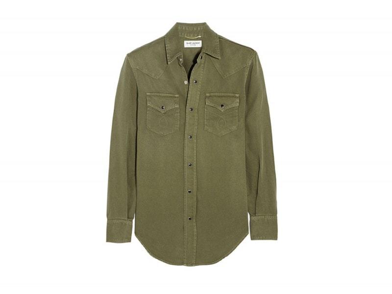 camicia verde denim saint laurent