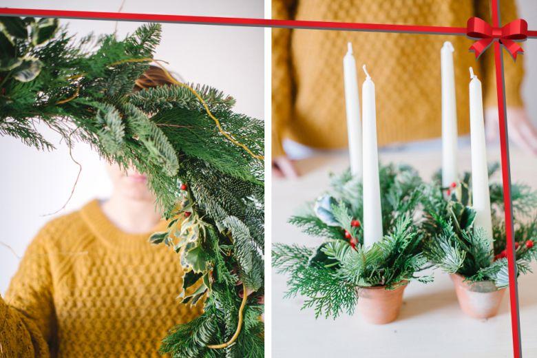 Decorazioni di Natale fai da te: come realizzare la ghirlanda e il centrotavola in pino
