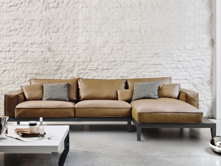 Contemporary sofa / leather / wooden  / indoor