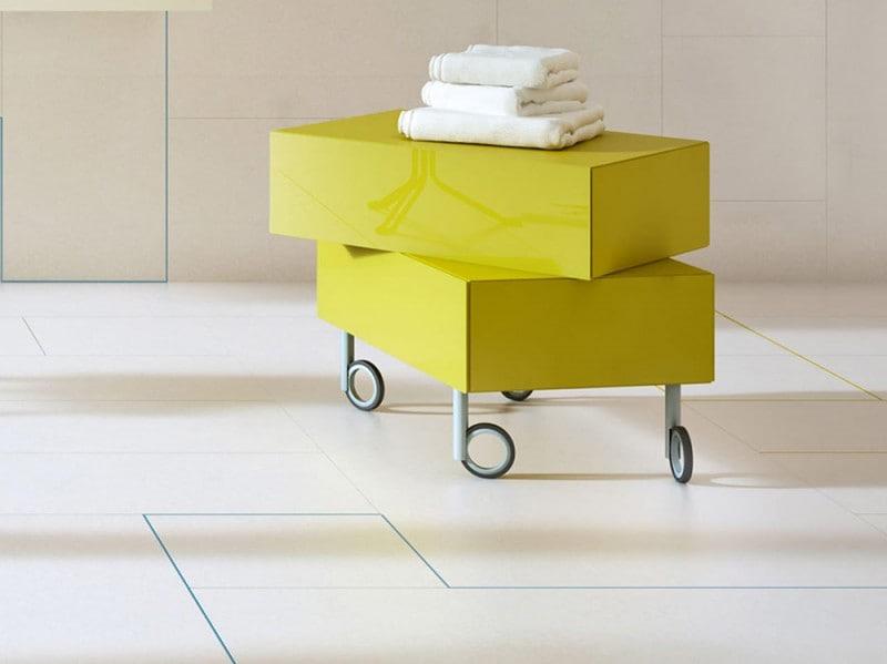 Carrello per bagno ruote cassetti in metallo cassettiera