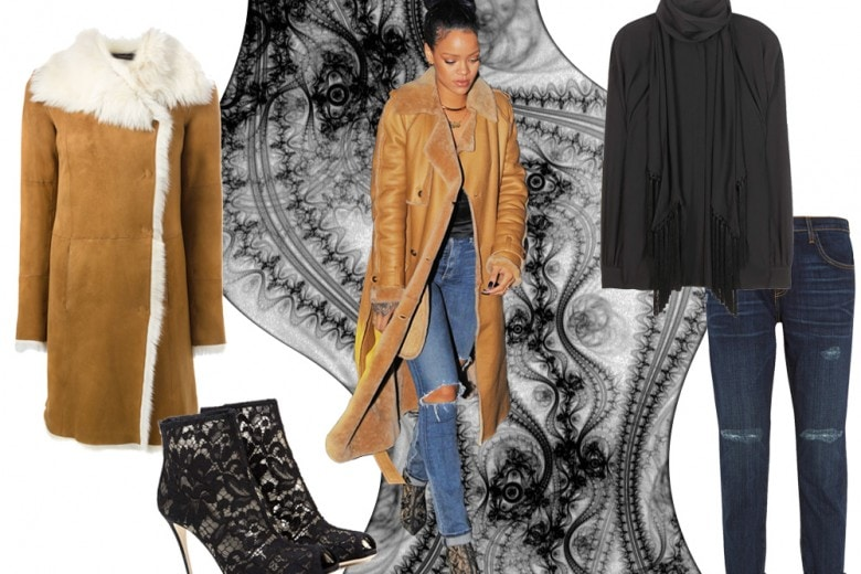 Get the look: il cappotto shearling come Rihanna