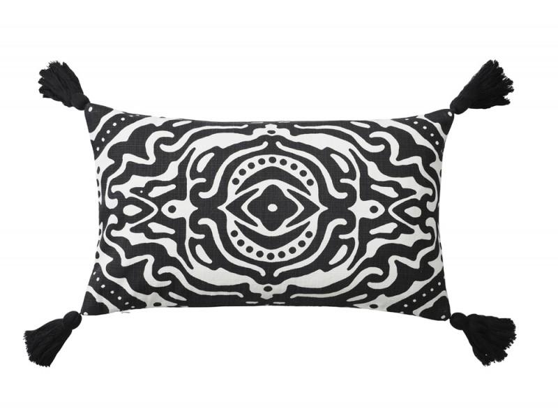 Fantasia etnica e nappine per il cuscino black&white
