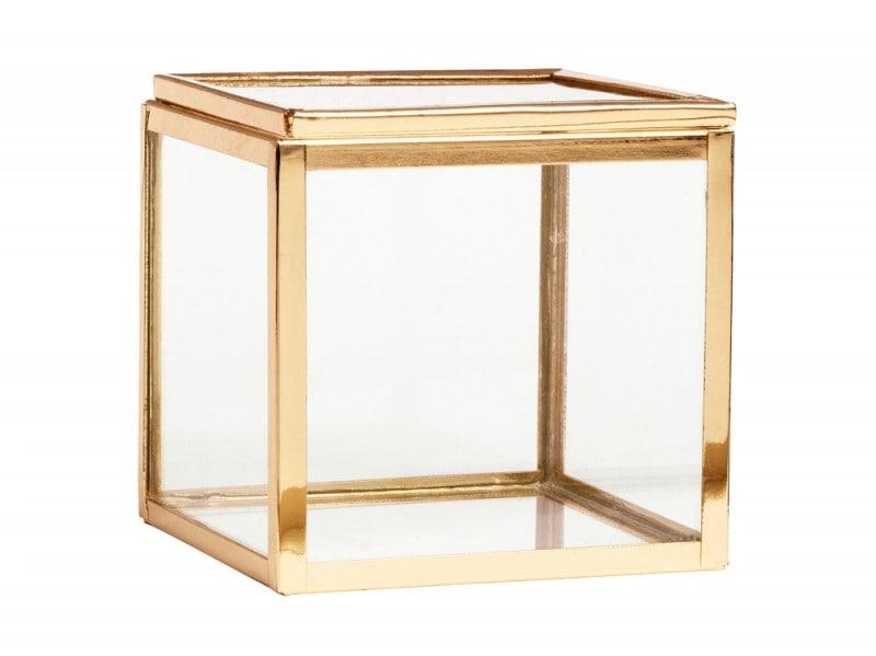 La scatola in vetro con profili in oro