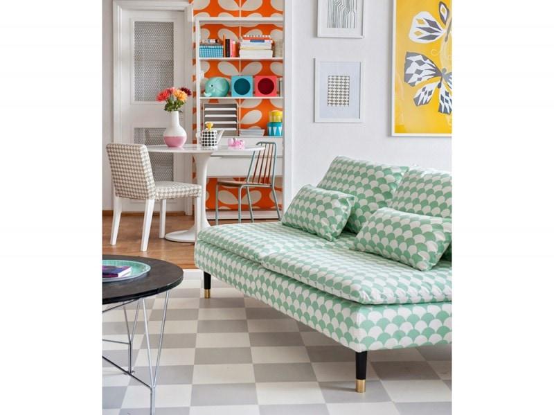 Un divano IKEA rivestito da Bemz