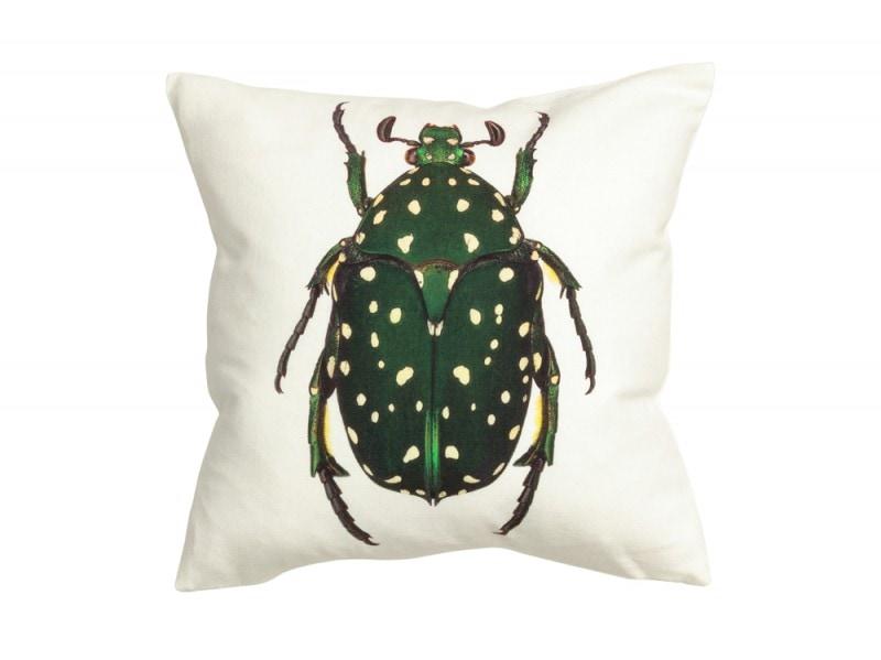 Un grande scarabeo verde sul cuscino