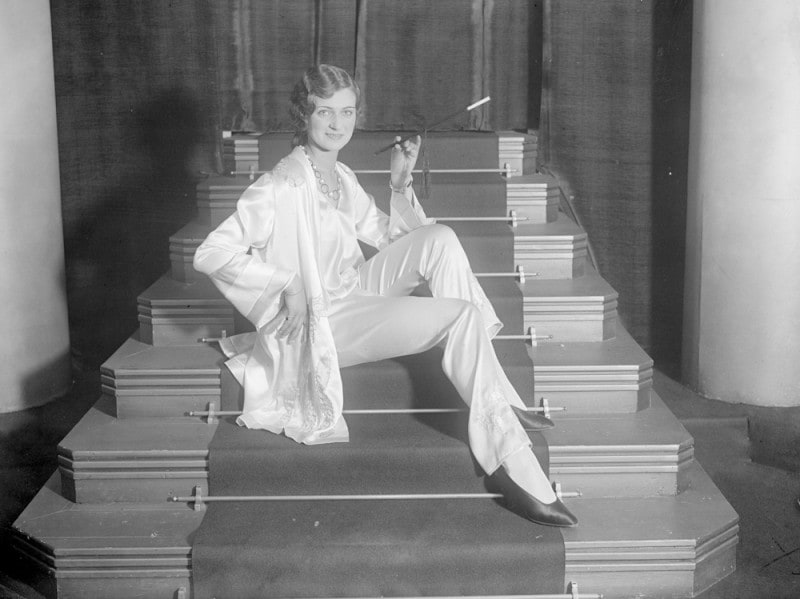 29th-October-1928-A-model-modelling-a-suit-of-pyjamas-at-a-show-of-Parisian-pyjamas-in-the-West-End-of-London.-Photo-by-London-Express-Getty-Images