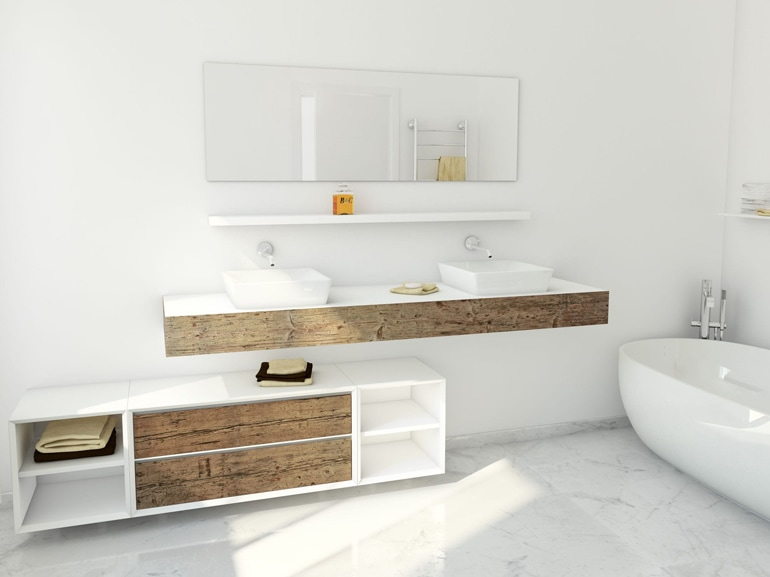 Arredare il bagno con il legno - Legno grezzo mobili ...