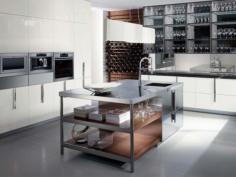 Contemporary kitchen / marble / wood veneer / by Rodolfo Dordoni