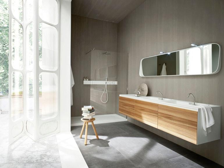 arredare il bagno con il legno - grazia - Bagni Moderni Con Doppio Lavabo