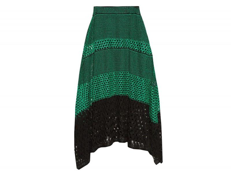 gonna midi verde crochet proenza schouler