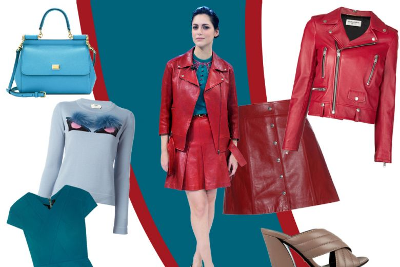 Miriam Leone in red leather. Get the look!