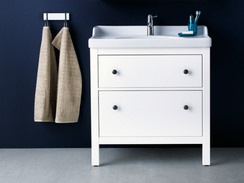 mobile bianco bagno lavandino incassato ikea