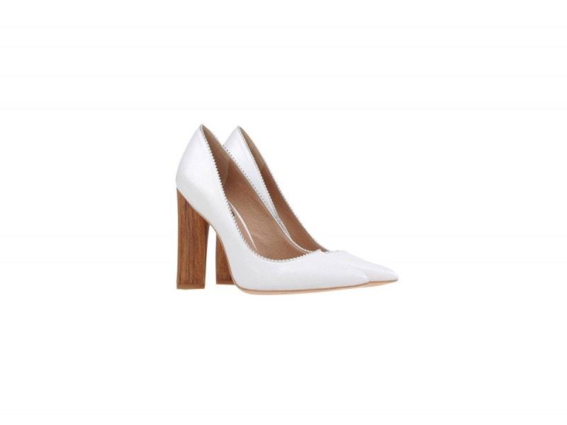 rachel zoe scarpe bianche tacco legno