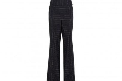 DION LEE Pinstriped stretch-cady wide-leg pants_NET