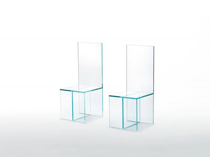 Contemporary chair / glass