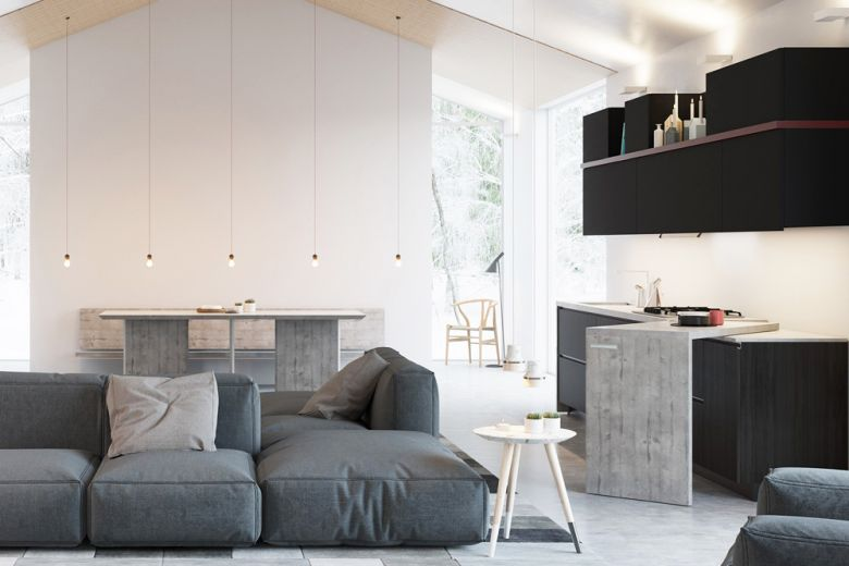 Le cucine a vista perfette per un open space
