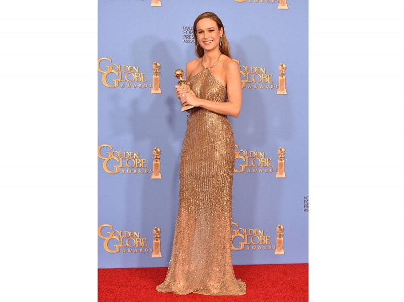 Brie Larson Calvin Klein Collection custom made golden globe 2016