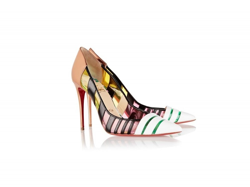 CHRISTIAN LOUBOUTIN Bandy 100 striped leather and PVC pumps_NET