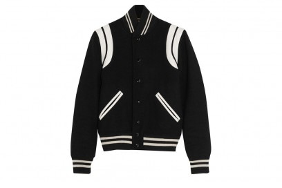 SAINT LAURENT Leather-trimmed wool-blend bomber jacket_NET