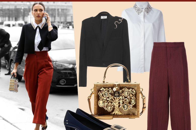 Culotte pants e camicia preziosa come Jessica Alba