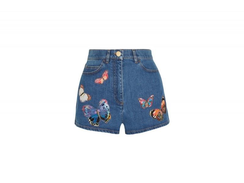 shorts in denim con farfalle valentino