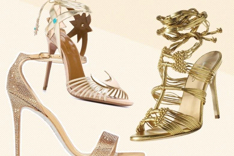 Sandali dorati per la sposa