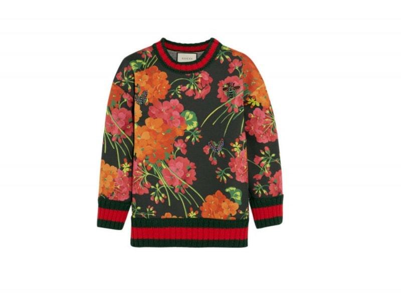 GUCCI Floral-print bonded cotton-jersey sweatshirt_NET