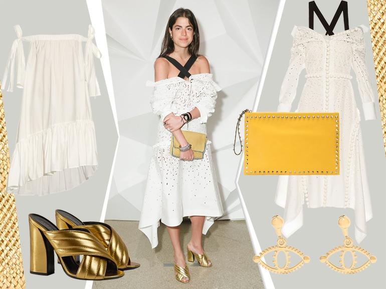 cover abito in cotone e sandali gold come Leandra Medine mobile