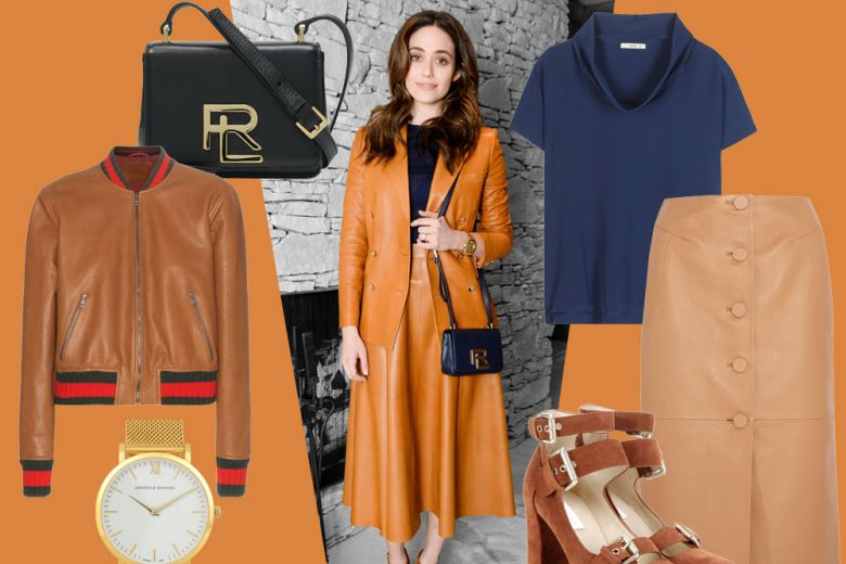 Emmy Rossum in Ralph Lauren: look facile e chic per il weekend