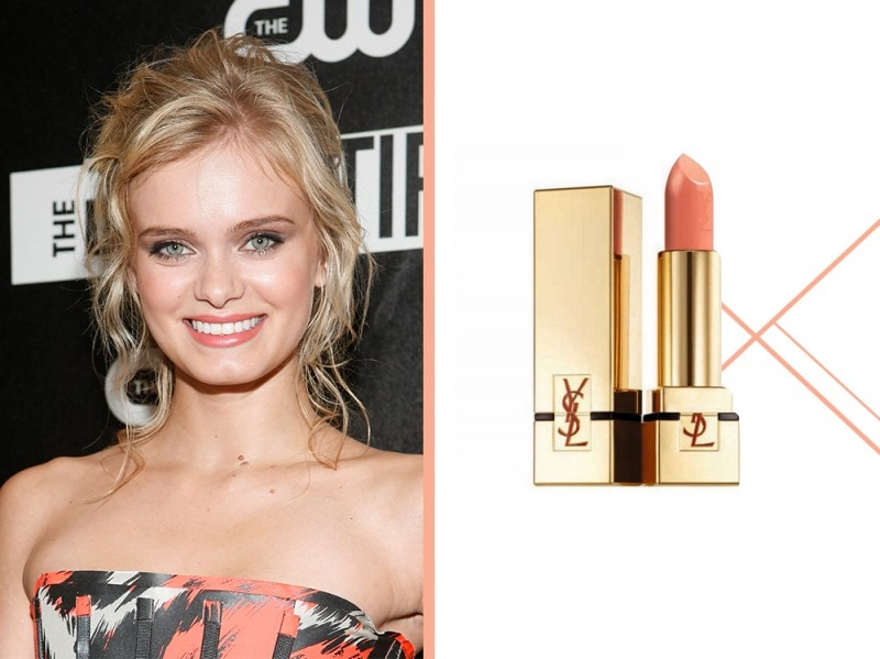 rossetto-corallo-a-chi-sta-bene-Sara-Paxton-ysl-rouge-pur-couture-satin-radiance-lipstick-coral-poetique