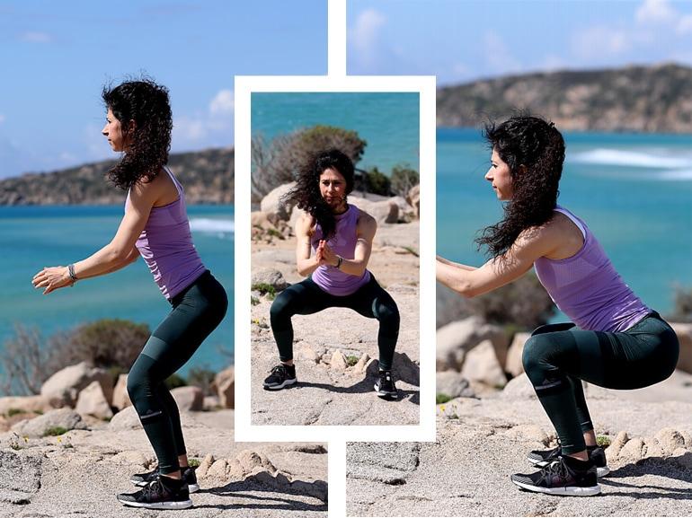 squat libero esercizi per rassodare gambe glutei